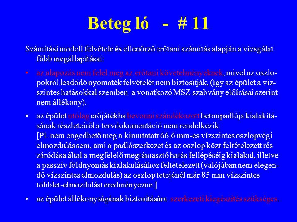 Beteg ló - # 11 Számítási modell felvétele és ellenőrző erőtani számítás alapján a vizsgálat főbb megállapításai: az alapozás nem felel meg az erőtani