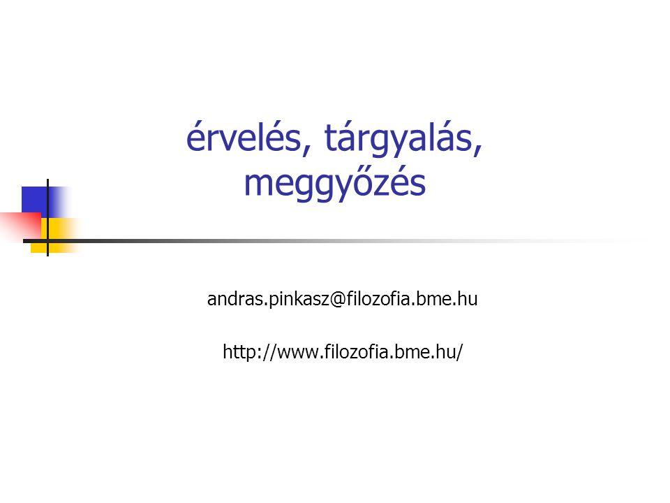 érvelés, tárgyalás, meggyőzés andras.pinkasz@filozofia.bme.hu http://www.filozofia.bme.hu/