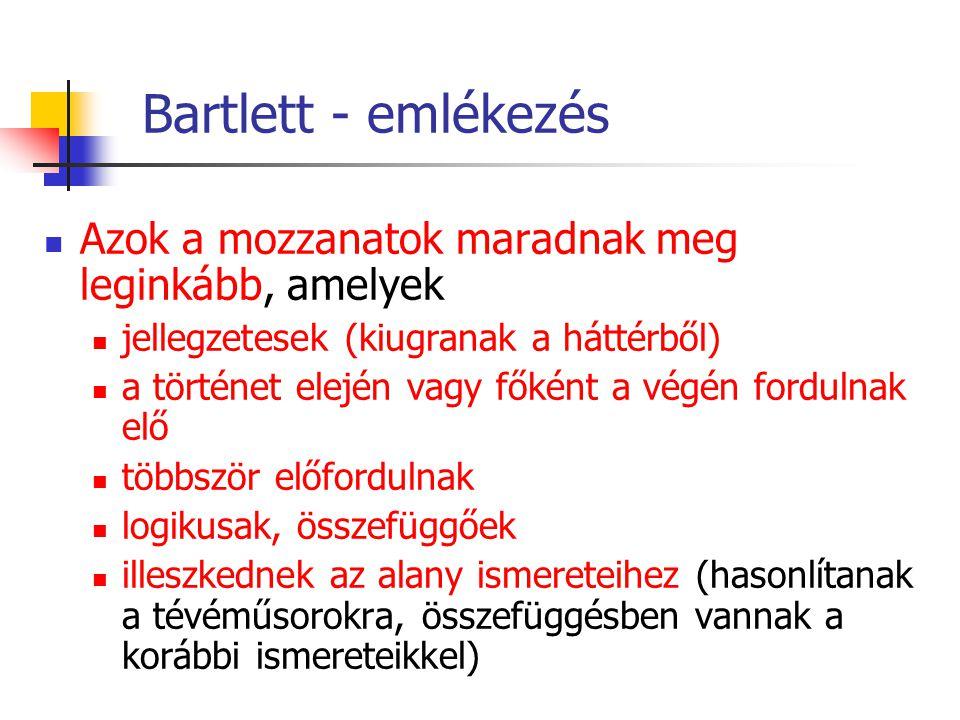 Bartlett - emlékezés Azok a mozzanatok maradnak meg leginkább, amelyek jellegzetesek (kiugranak a háttérből) a történet elején vagy főként a végén for