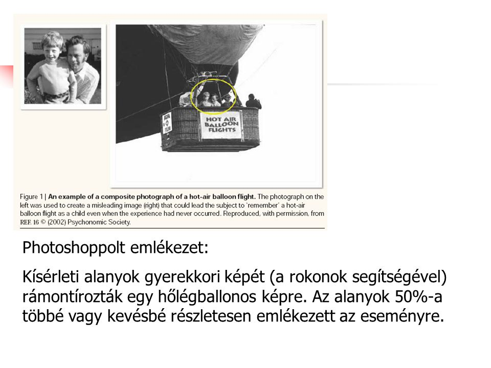 Photoshoppolt emlékezet: Kísérleti alanyok gyerekkori képét (a rokonok segítségével) rámontírozták egy hőlégballonos képre. Az alanyok 50%-a többé vag