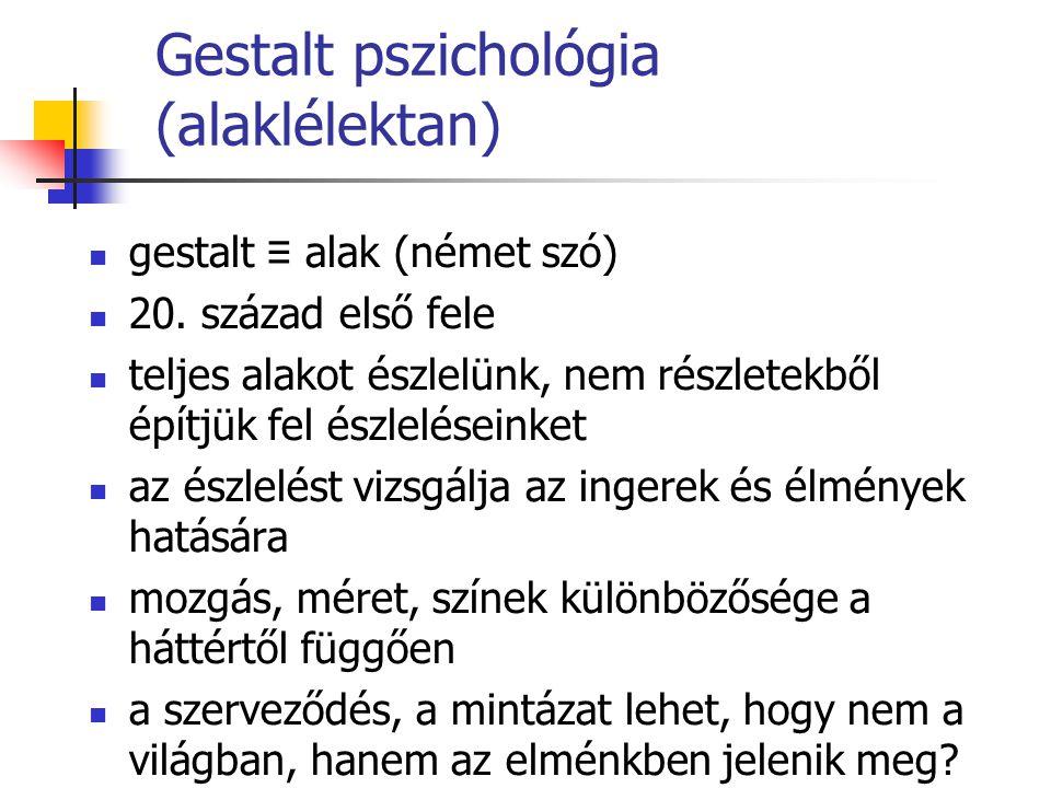 Gestalt pszichológia (alaklélektan) gestalt ≡ alak (német szó) 20. század első fele teljes alakot észlelünk, nem részletekből építjük fel észleléseink