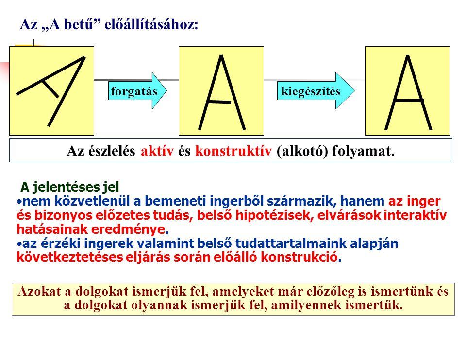 """Az észlelés aktív és konstruktív (alkotó) folyamat. Az """"A betű"""" előállításához: forgatáskiegészítés A jelentéses jel nem közvetlenül a bemeneti ingerb"""