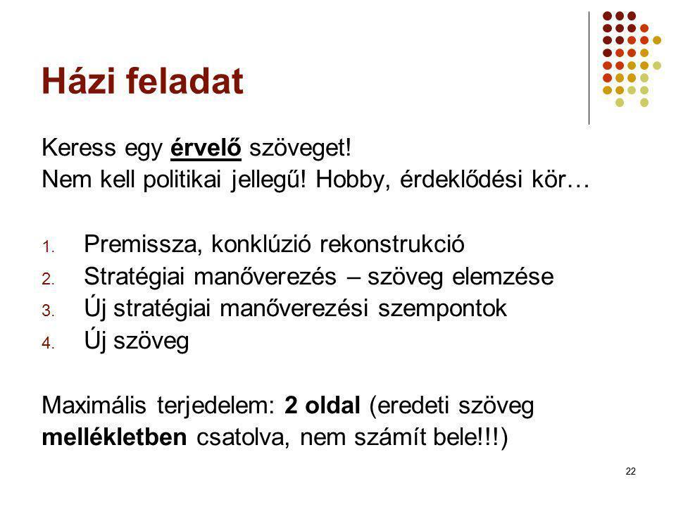 22 Házi feladat Keress egy érvelő szöveget! Nem kell politikai jellegű! Hobby, érdeklődési kör… 1. Premissza, konklúzió rekonstrukció 2. Stratégiai ma