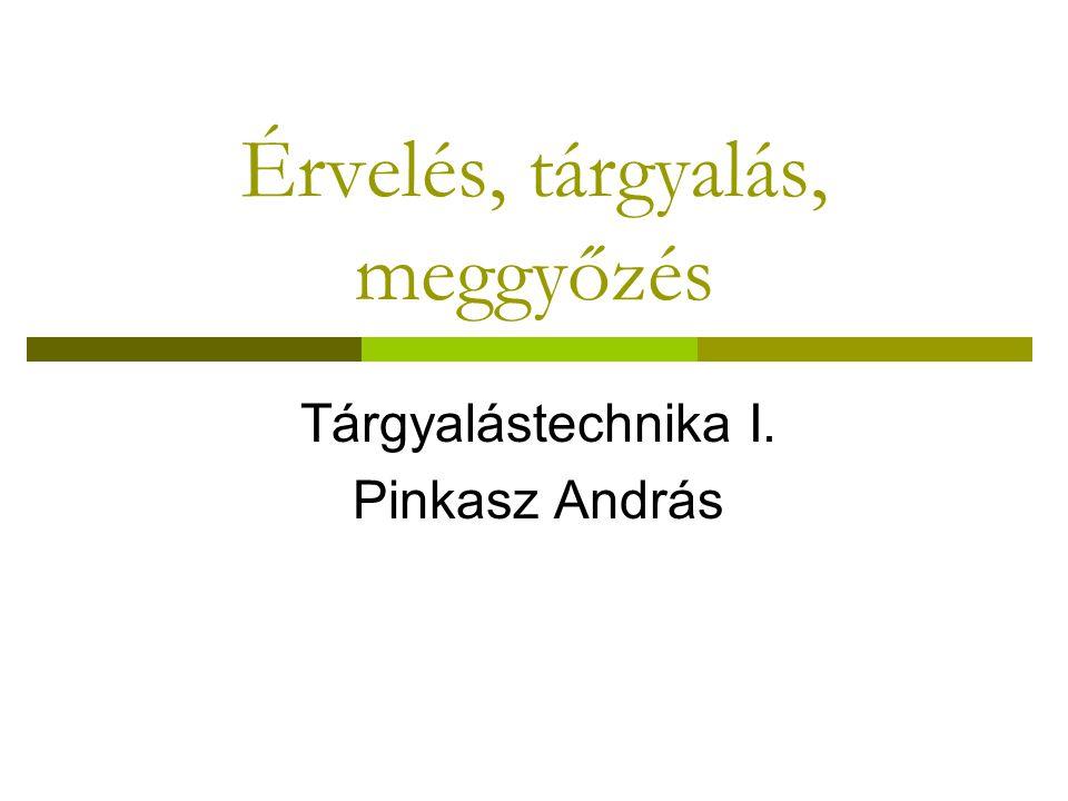 Érvelés, tárgyalás, meggyőzés Tárgyalástechnika I. Pinkasz András