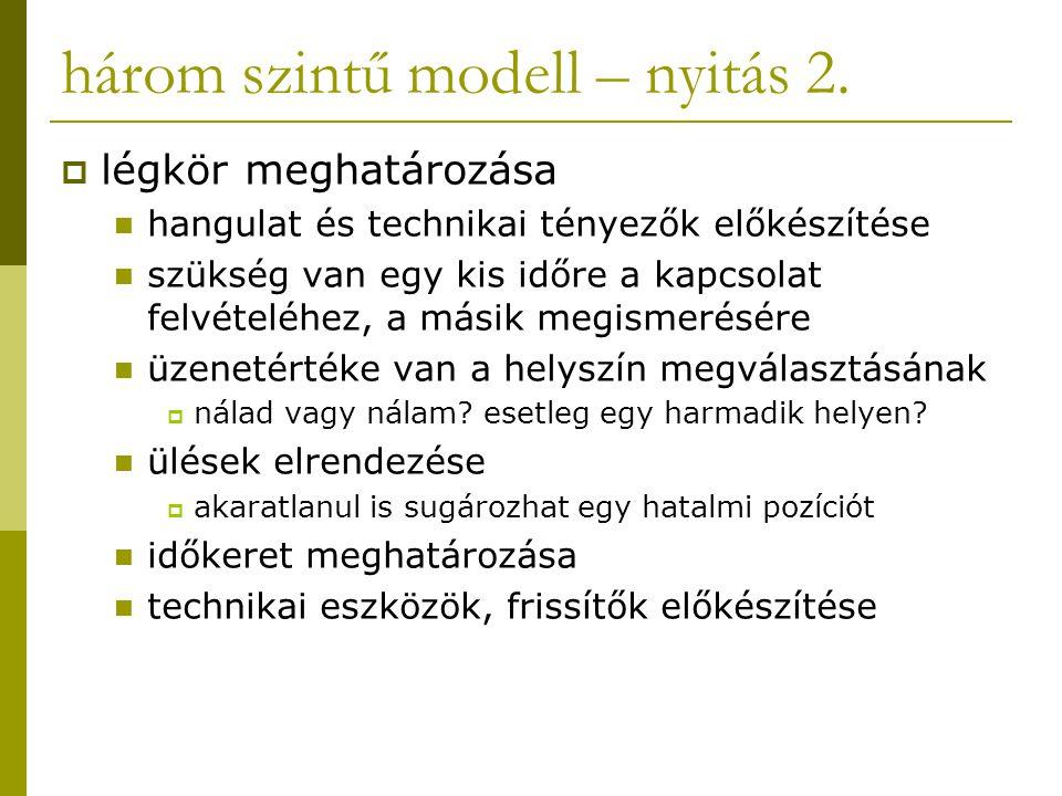 három szintű modell – nyitás 2.  légkör meghatározása hangulat és technikai tényezők előkészítése szükség van egy kis időre a kapcsolat felvételéhez,
