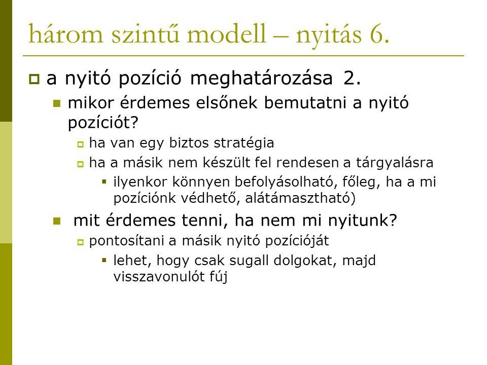 három szintű modell – nyitás 6.  a nyitó pozíció meghatározása 2. mikor érdemes elsőnek bemutatni a nyitó pozíciót?  ha van egy biztos stratégia  h