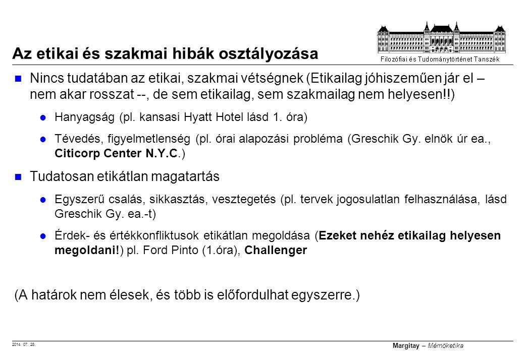 2014. 07. 28. Margitay – Mérnöketika Nincs tudatában az etikai, szakmai vétségnek (Etikailag jóhiszeműen jár el – nem akar rosszat --, de sem etikaila