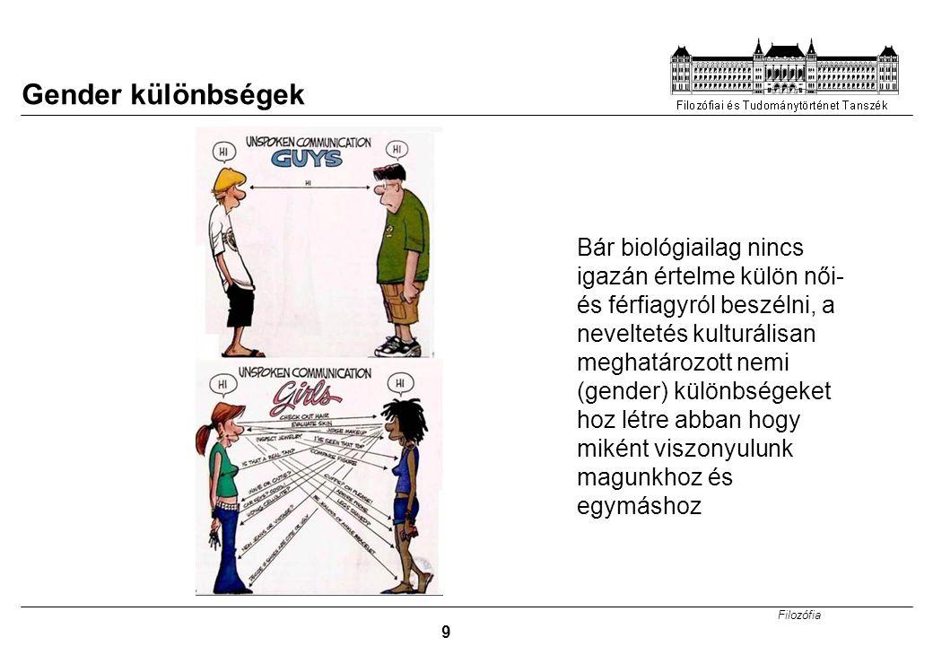 Filozófia 9 Gender különbségek Bár biológiailag nincs igazán értelme külön női- és férfiagyról beszélni, a neveltetés kulturálisan meghatározott nemi