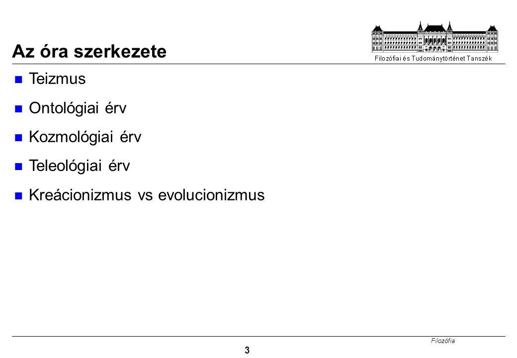Filozófia 3 Az óra szerkezete Teizmus Ontológiai érv Kozmológiai érv Teleológiai érv Kreácionizmus vs evolucionizmus