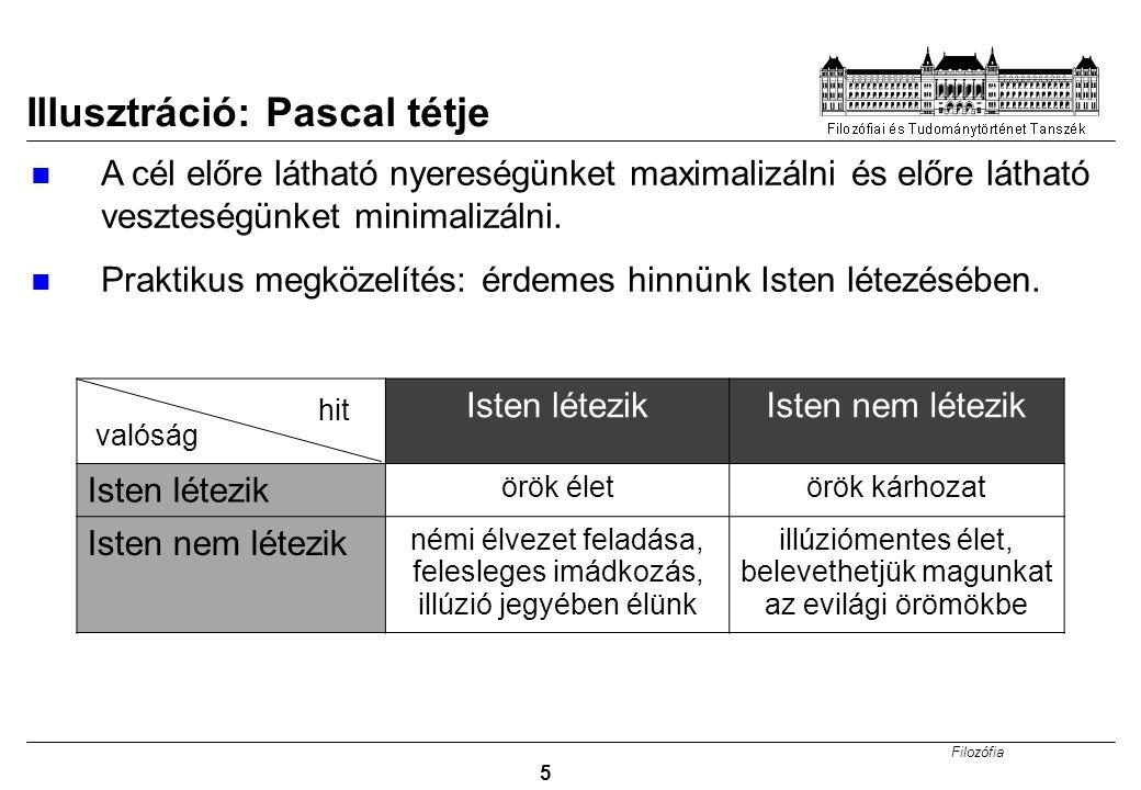 Filozófia 5 Illusztráció: Pascal tétje A cél előre látható nyereségünket maximalizálni és előre látható veszteségünket minimalizálni. Praktikus megköz