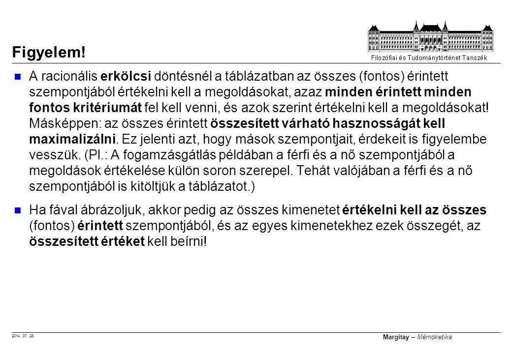 2014. 07. 28. Margitay – Mérnöketika A racionális erkölcsi döntésnél a táblázatban az összes (fontos) érintett szempontjából értékelni kell a megoldás