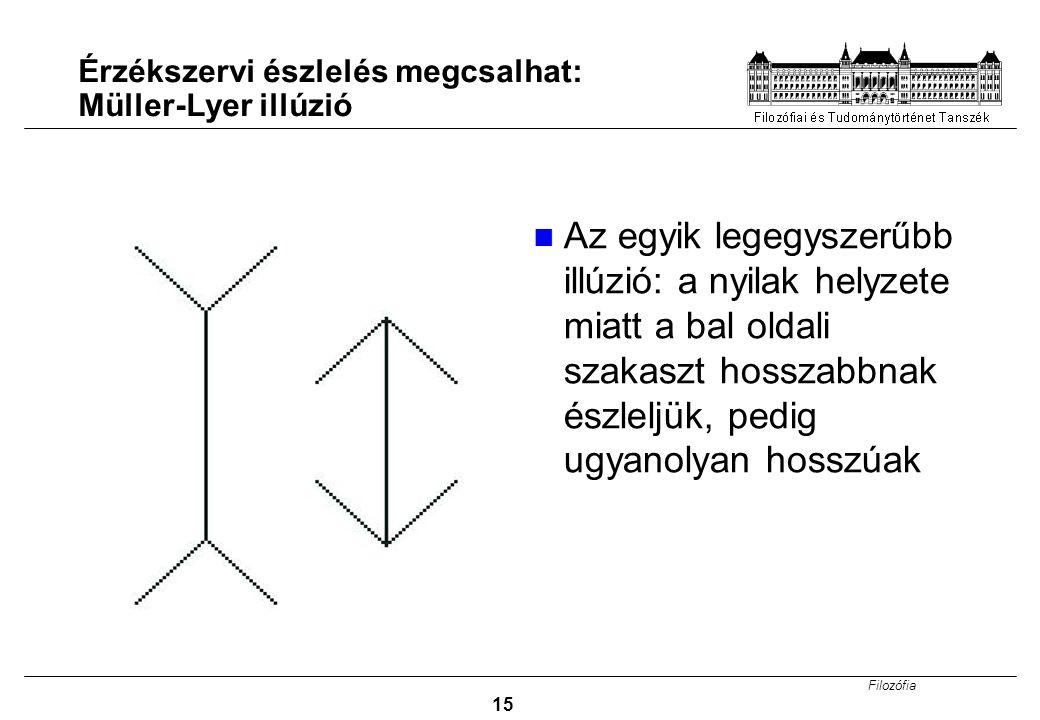 Filozófia 15 Érzékszervi észlelés megcsalhat: Müller-Lyer illúzió Az egyik legegyszerűbb illúzió: a nyilak helyzete miatt a bal oldali szakaszt hossza