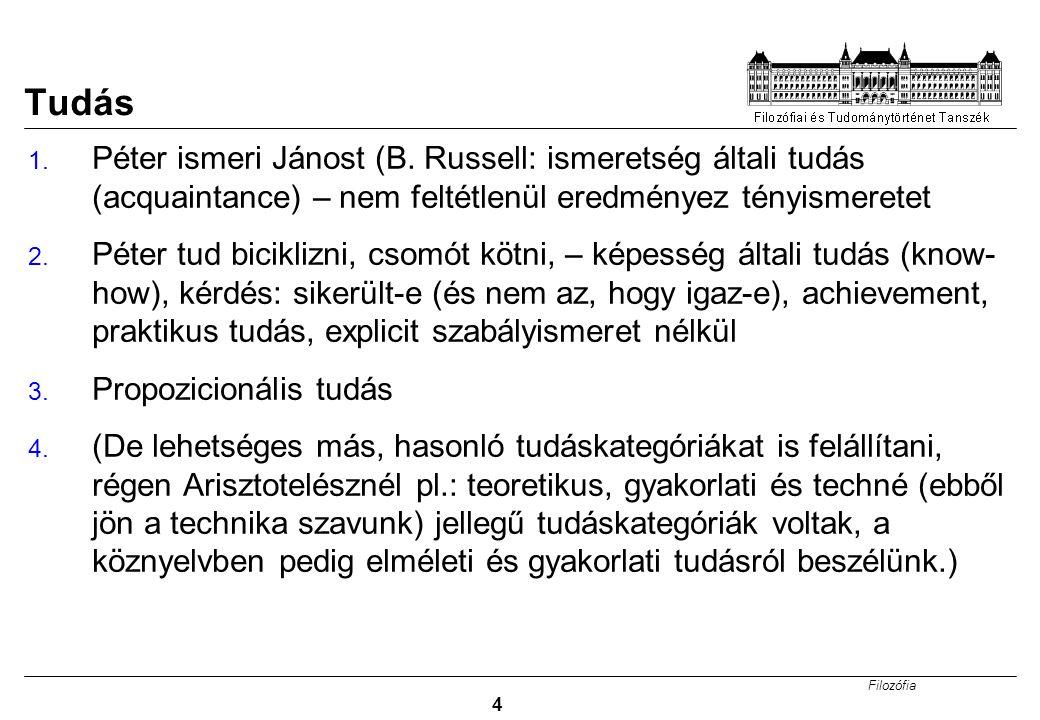 Filozófia 4 Tudás 1. Péter ismeri Jánost (B. Russell: ismeretség általi tudás (acquaintance) – nem feltétlenül eredményez tényismeretet 2. Péter tud b