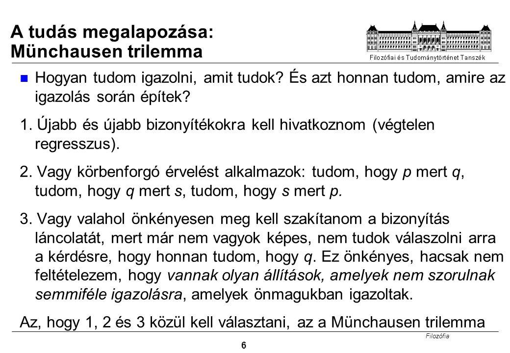 Filozófia 6 A tudás megalapozása: Münchausen trilemma Hogyan tudom igazolni, amit tudok? És azt honnan tudom, amire az igazolás során építek? 1. Újabb