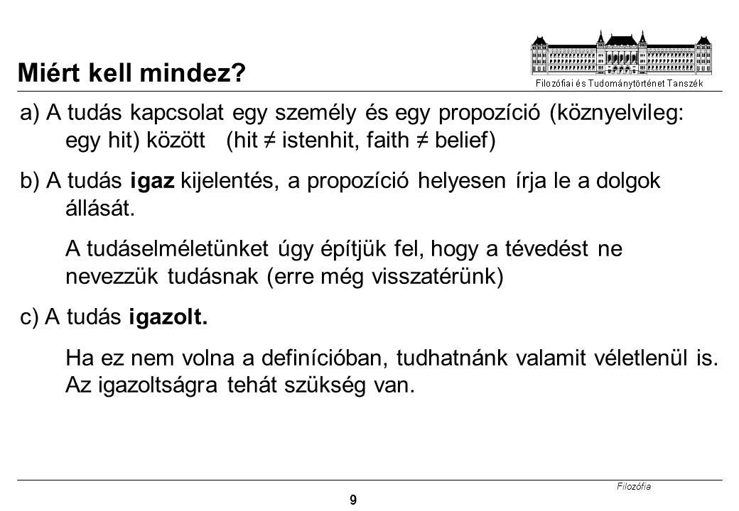 Filozófia 9 Miért kell mindez? a) A tudás kapcsolat egy személy és egy propozíció (köznyelvileg: egy hit) között (hit ≠ istenhit, faith ≠ belief) b) A