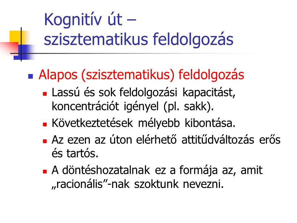 Kognitív út – szisztematikus feldolgozás Alapos (szisztematikus) feldolgozás Lassú és sok feldolgozási kapacitást, koncentrációt igényel (pl. sakk). K