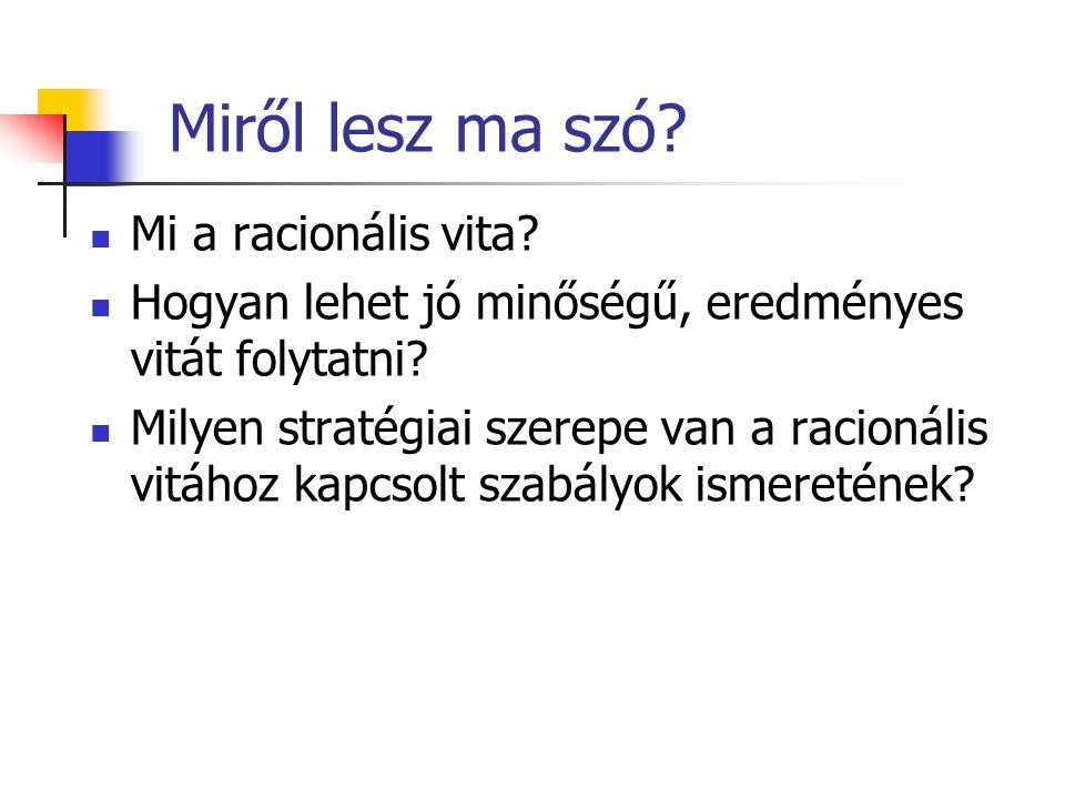 Pl.: Sváby Orbán interjú 2006 Az alábbi példában biztosan fellelhető: Túl sokat állító kérdés Hamis dilemma Túl komplex kérdés Nem tudásra apellálás 3 perc 6 másodperc az elejéből (youtube) http://www.youtube.com/watch?v=XvqQIsHghzE