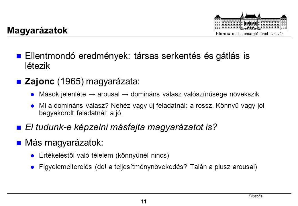 Filozófia 11 Magyarázatok Ellentmondó eredmények: társas serkentés és gátlás is létezik Zajonc (1965) magyarázata: Mások jelenléte → arousal → dominán