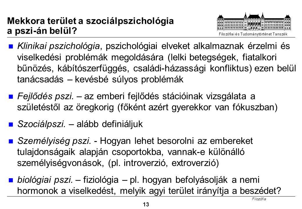 Filozófia 13 Mekkora terület a szociálpszichológia a pszi-án belül? Klinikai pszichológia, pszichológiai elveket alkalmaznak érzelmi és viselkedési pr