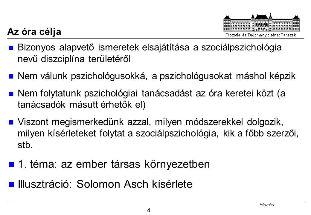 Filozófia 15 Mi a szociálpszichológia.