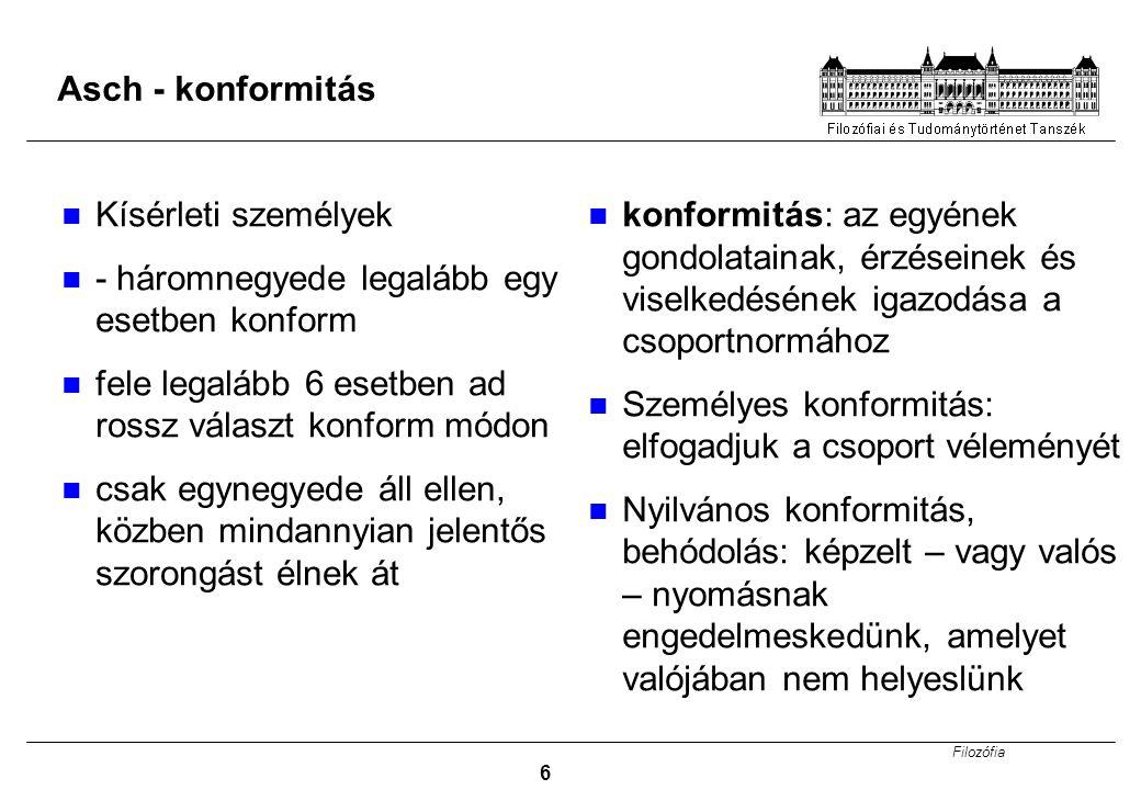 Filozófia 6 Asch - konformitás Kísérleti személyek - háromnegyede legalább egy esetben konform fele legalább 6 esetben ad rossz választ konform módon