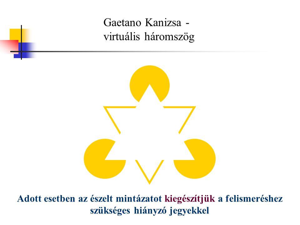 Gaetano Kanizsa - virtuális háromszög Adott esetben az észelt mintázatot kiegészítjük a felismeréshez szükséges hiányzó jegyekkel