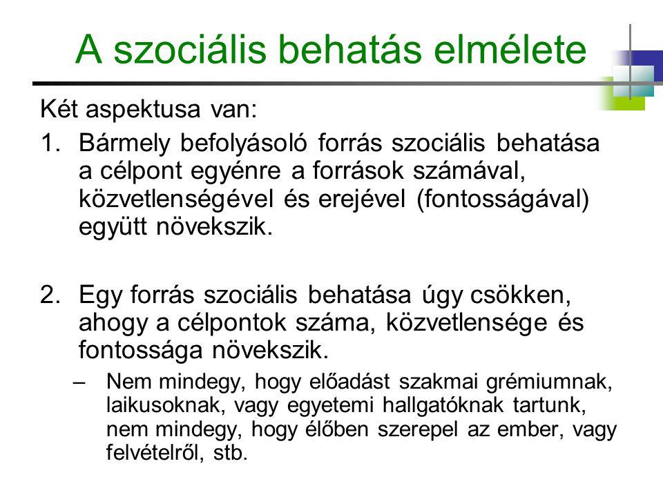 A szociális behatás elmélete Két aspektusa van: 1.Bármely befolyásoló forrás szociális behatása a célpont egyénre a források számával, közvetlenségéve