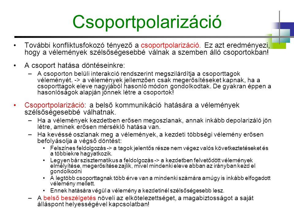 Csoportpolarizáció További konfliktusfokozó tényező a csoportpolarizáció. Ez azt eredményezi, hogy a vélemények szélsőségesebbé válnak a szemben álló