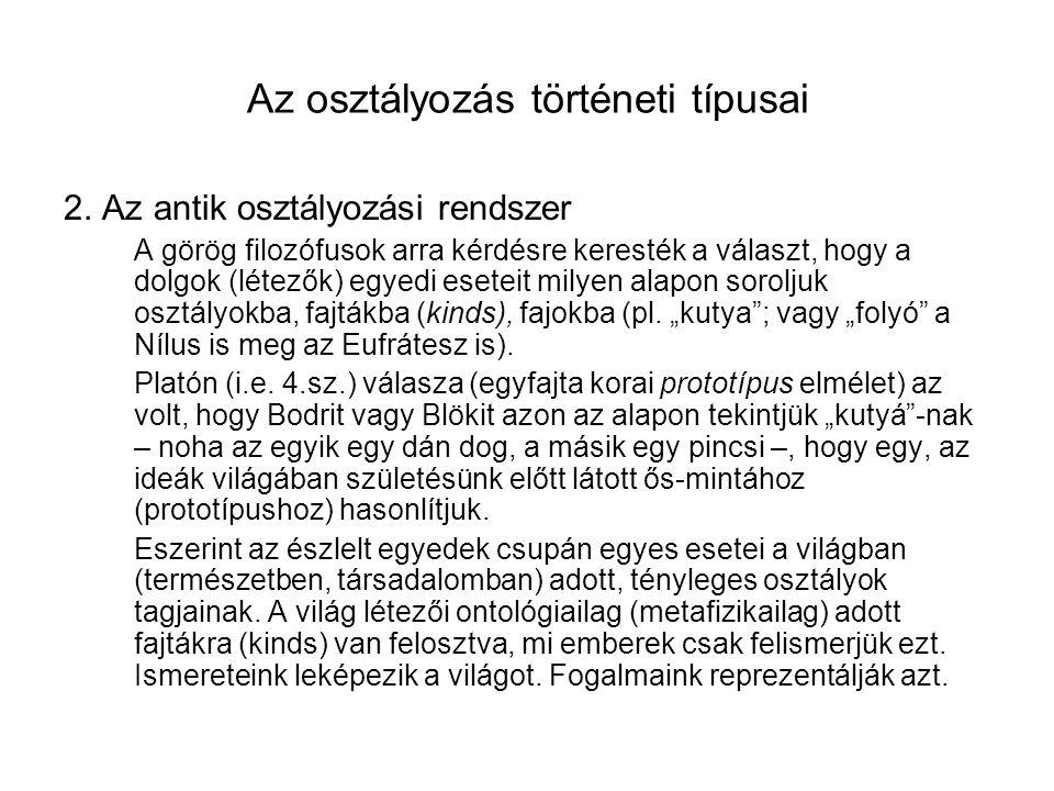 Az osztályozás történeti típusai 2.