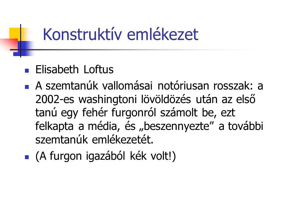 Konstruktív emlékezet Elisabeth Loftus A szemtanúk vallomásai notóriusan rosszak: a 2002-es washingtoni lövöldözés után az első tanú egy fehér furgonr