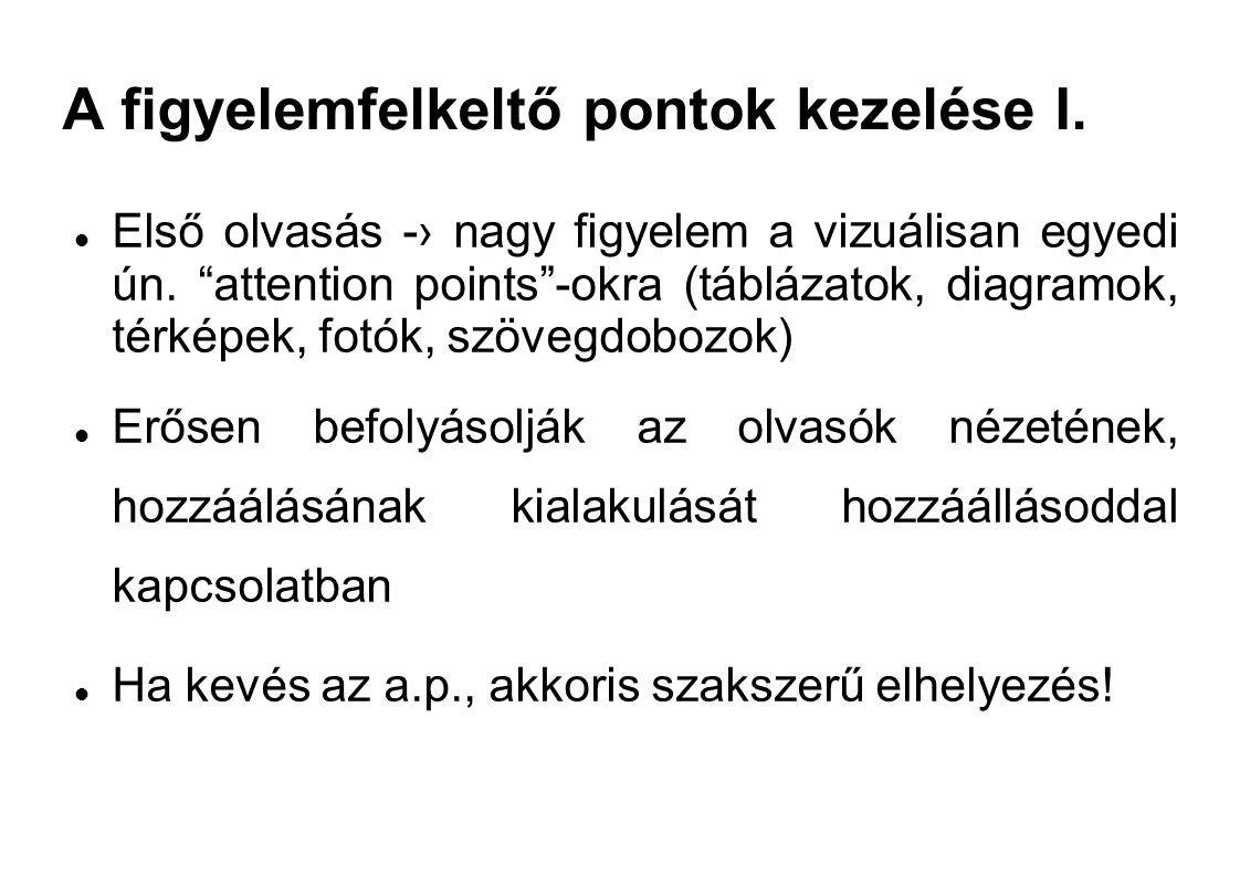 """A figyelemfelkeltő pontok kezelése I. Első olvasás -› nagy figyelem a vizuálisan egyedi ún. """"attention points""""-okra (táblázatok, diagramok, térképek,"""