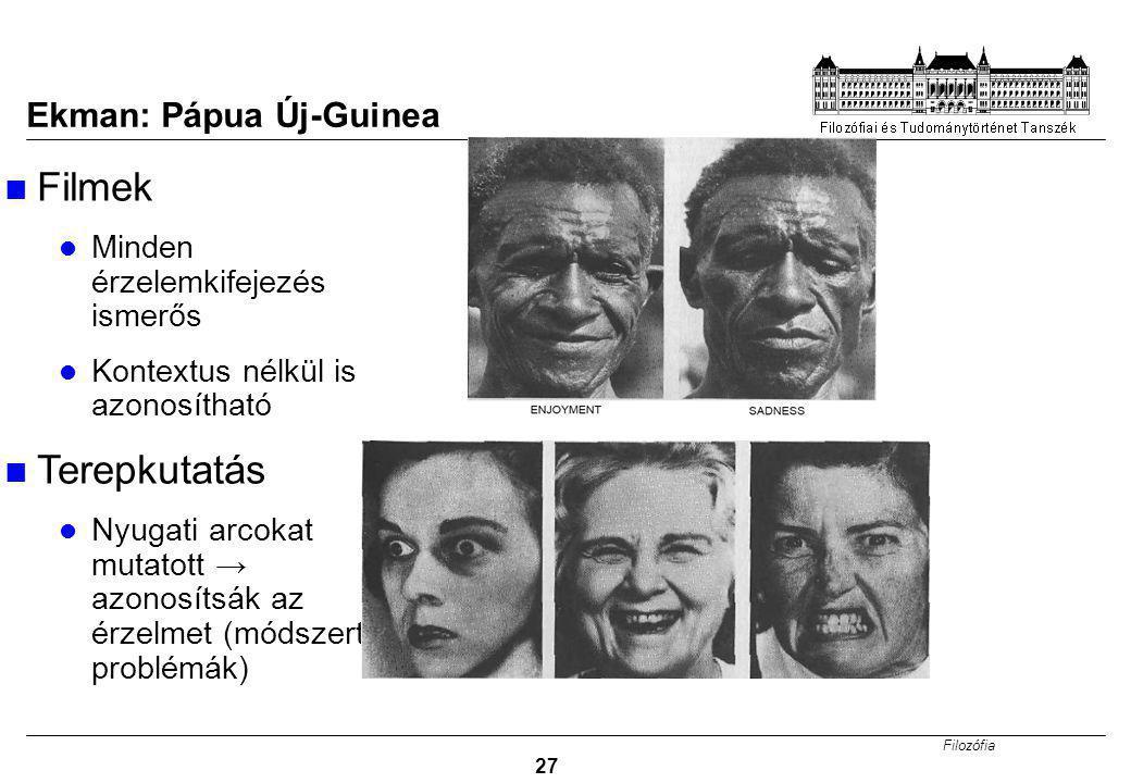 Filozófia 27 Ekman: Pápua Új-Guinea Filmek Minden érzelemkifejezés ismerős Kontextus nélkül is azonosítható Terepkutatás Nyugati arcokat mutatott → azonosítsák az érzelmet (módszertani problémák)