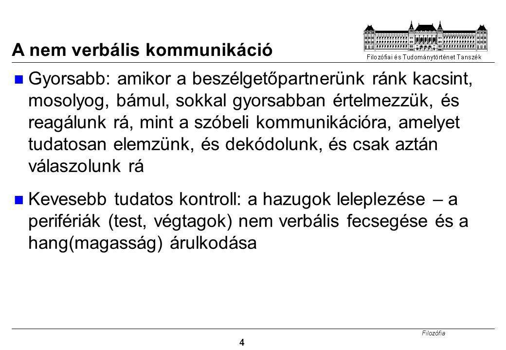 Filozófia 5 A nem verbális kommunikáció jelentősége (A. Mehrabian) Jó ez az ábra???