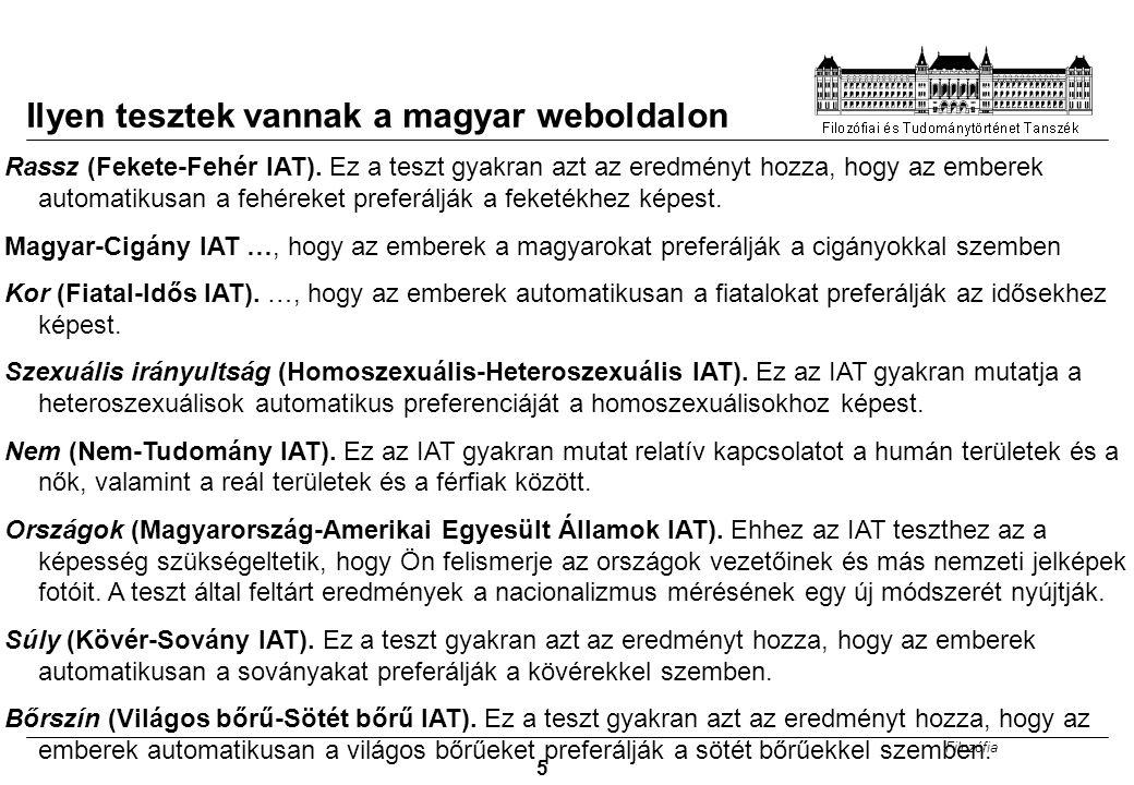 Filozófia 5 Ilyen tesztek vannak a magyar weboldalon Rassz (Fekete-Fehér IAT). Ez a teszt gyakran azt az eredményt hozza, hogy az emberek automatikusa