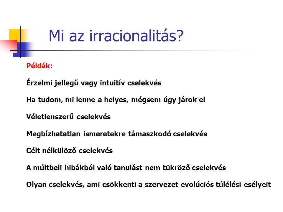 Mi az irracionalitás? Példák: Érzelmi jellegű vagy intuitív cselekvés Ha tudom, mi lenne a helyes, mégsem úgy járok el Véletlenszerű cselekvés Megbízh