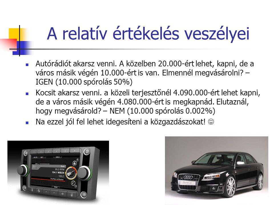 A relatív értékelés veszélyei Autórádiót akarsz venni. A közelben 20.000-ért lehet, kapni, de a város másik végén 10.000-ért is van. Elmennél megvásár