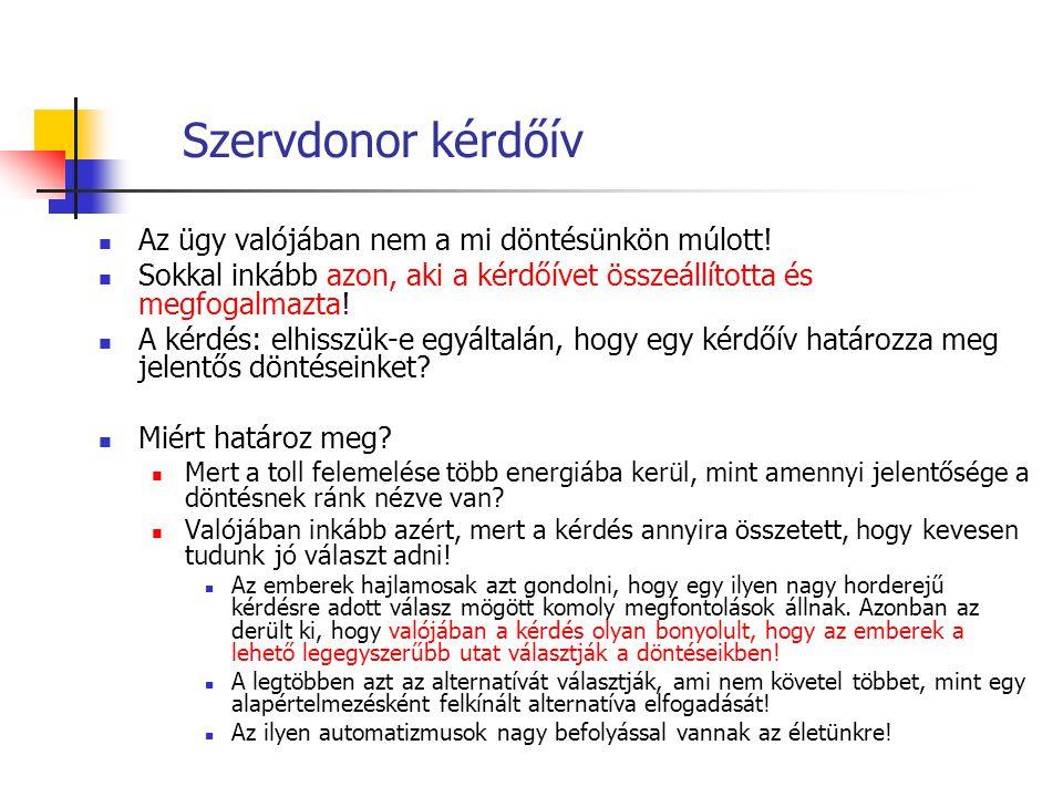 Szervdonor kérdőív Az ügy valójában nem a mi döntésünkön múlott! Sokkal inkább azon, aki a kérdőívet összeállította és megfogalmazta! A kérdés: elhiss