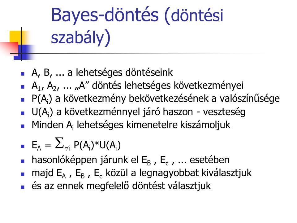 """Bayes-döntés ( döntési szabály ) A, B,... a lehetséges döntéseink A 1, A 2,... """"A"""" döntés lehetséges következményei P(A i ) a következmény bekövetkezé"""
