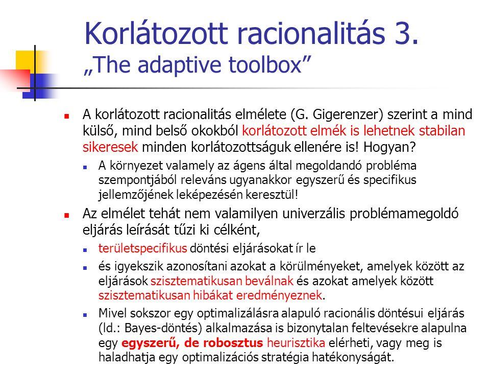 """Korlátozott racionalitás 3. """"The adaptive toolbox"""" A korlátozott racionalitás elmélete (G. Gigerenzer) szerint a mind külső, mind belső okokból korlát"""