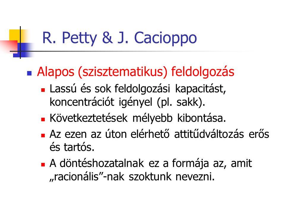 R. Petty & J. Cacioppo Alapos (szisztematikus) feldolgozás Lassú és sok feldolgozási kapacitást, koncentrációt igényel (pl. sakk). Következtetések mél
