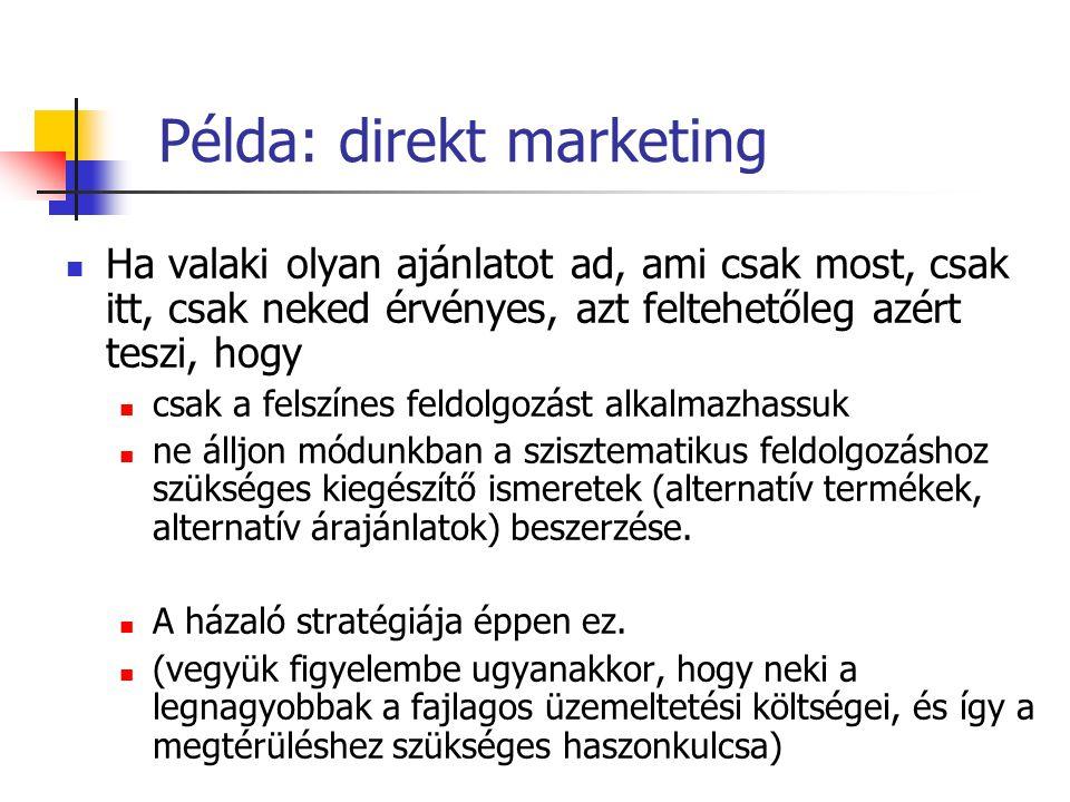 Példa: direkt marketing Ha valaki olyan ajánlatot ad, ami csak most, csak itt, csak neked érvényes, azt feltehetőleg azért teszi, hogy csak a felszíne