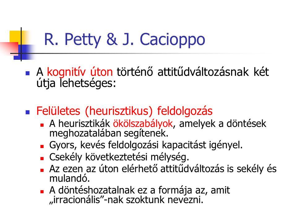 R. Petty & J. Cacioppo A kognitív úton történő attitűdváltozásnak két útja lehetséges: Felületes (heurisztikus) feldolgozás A heurisztikák ökölszabály