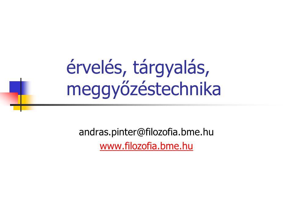 érvelés, tárgyalás, meggyőzéstechnika andras.pinter@filozofia.bme.hu www.filozofia.bme.hu