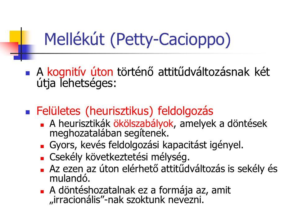 Mellékút (Petty-Cacioppo) A kognitív úton történő attitűdváltozásnak két útja lehetséges: Felületes (heurisztikus) feldolgozás A heurisztikák ökölszab