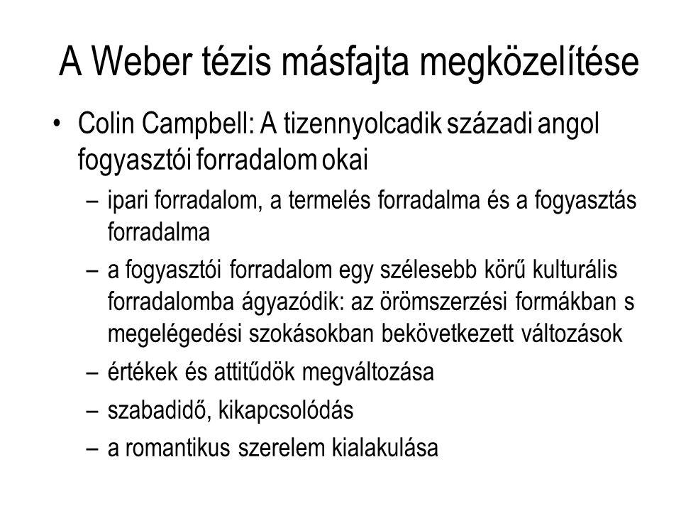 A Weber tézis másfajta megközelítése Colin Campbell: A tizennyolcadik századi angol fogyasztói forradalom okai –ipari forradalom, a termelés forradalm