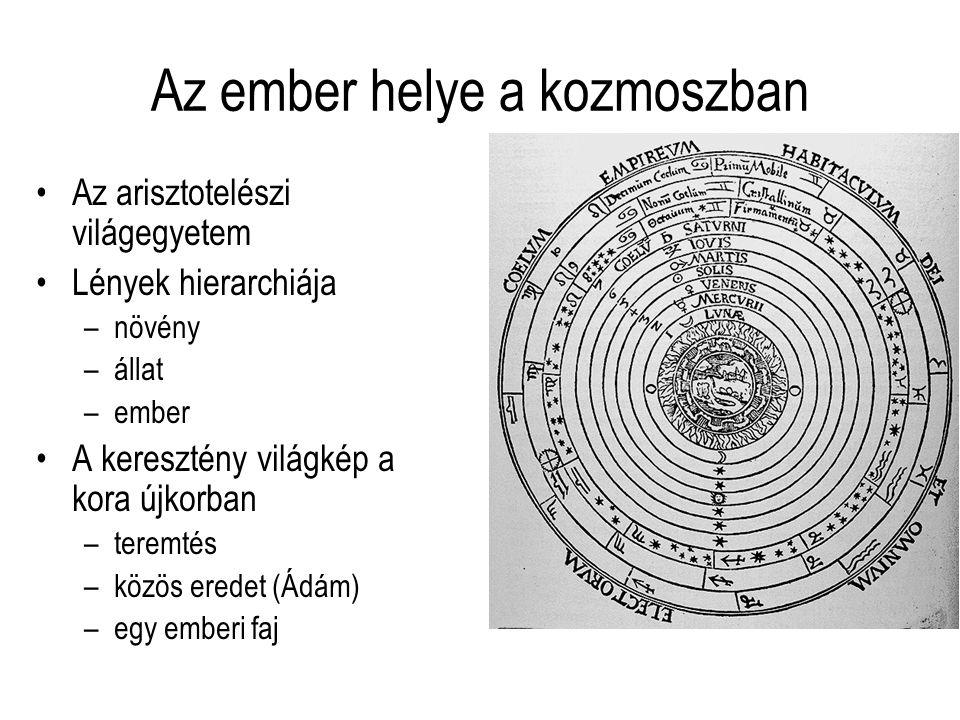 Az ember helye a kozmoszban Az arisztotelészi világegyetem Lények hierarchiája –növény –állat –ember A keresztény világkép a kora újkorban –teremtés –