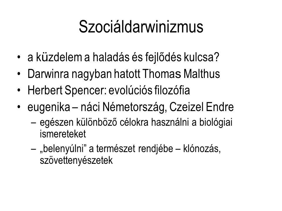 Szociáldarwinizmus a k ü zdelem a haladás és fejlődés kulcsa? Darwinra nagyban hatott Thoma s Malthus Herbert Spencer: evolúciós filozófia eugenika –