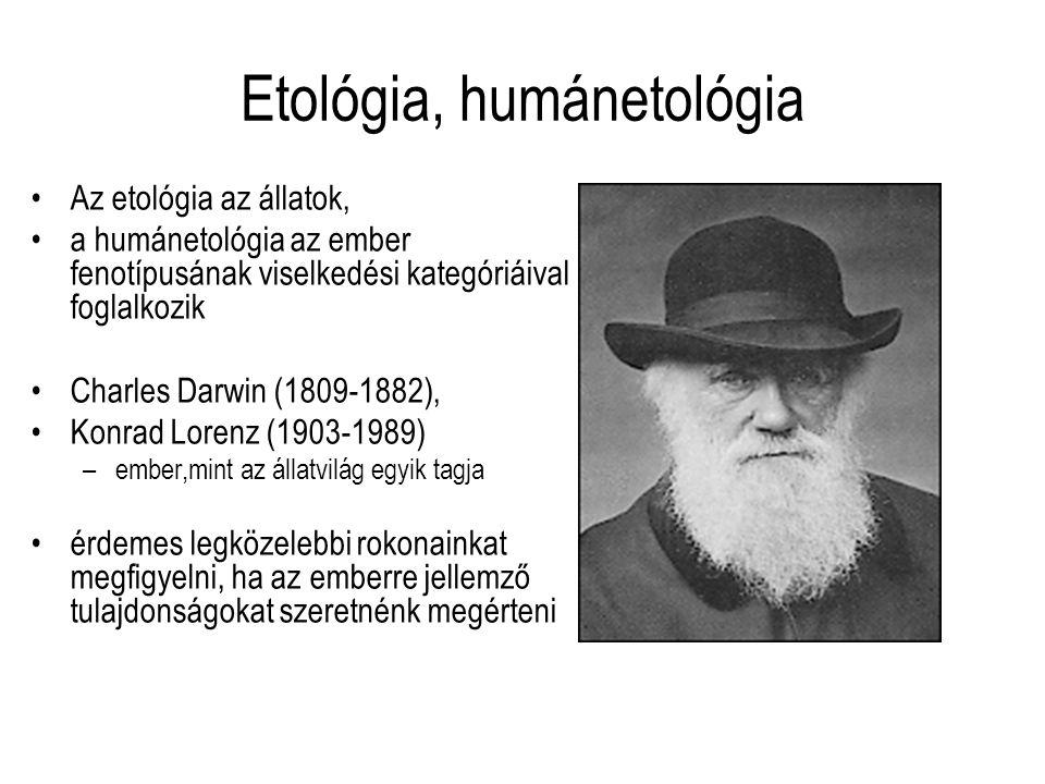 Etológia, humánetológia Az etológia az állatok, a humánetológia az ember fenotípusának viselkedési kategóriáival foglalkozik Charles Darwin (1809-1882
