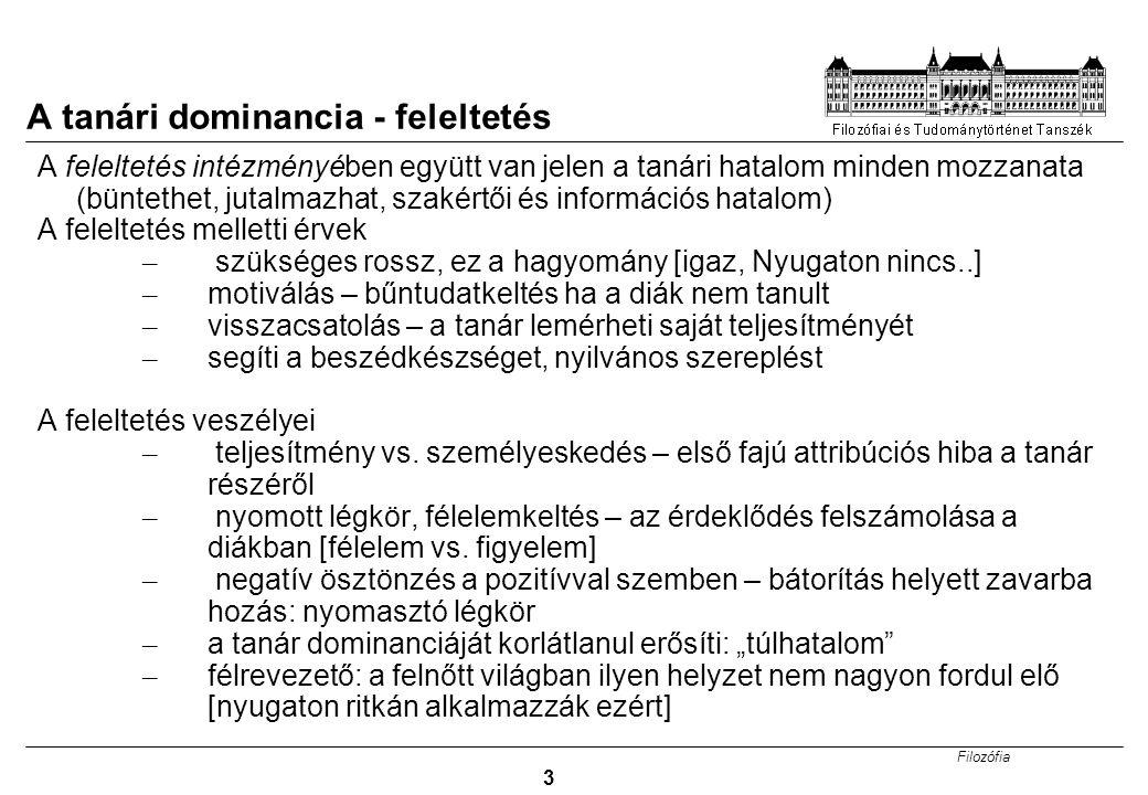 Filozófia 4 A pygmalion effektus Pygmalion hatás: önbeteljesítő jóslat (görög monda: Pygmalion kifaragja Galathea szobrát, beleszeret és a márványalak megelevenedik, lásd még G.B.