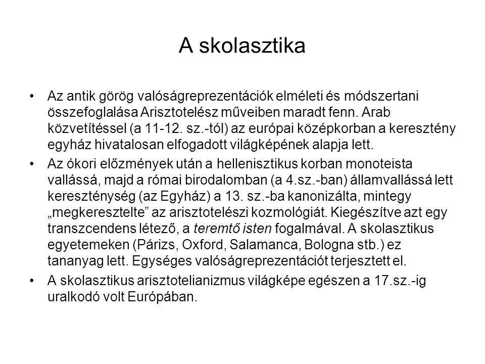 A skolasztika Az antik görög valóságreprezentációk elméleti és módszertani összefoglalása Arisztotelész műveiben maradt fenn. Arab közvetítéssel (a 11